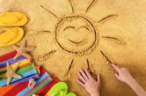 sun sand smiling